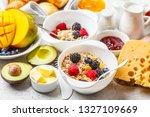 continental breakfast table... | Shutterstock . vector #1327109669