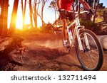 mountain bike cyclist riding... | Shutterstock . vector #132711494