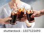 friends with glasses of cold... | Shutterstock . vector #1327121693