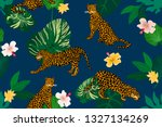 trendy print with leopards.... | Shutterstock .eps vector #1327134269