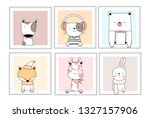cute baby animals with window... | Shutterstock .eps vector #1327157906