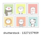 cute baby animals with window... | Shutterstock .eps vector #1327157909