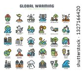 global warming   thin line and... | Shutterstock .eps vector #1327166420