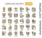 cashless society   thin line... | Shutterstock .eps vector #1327169546