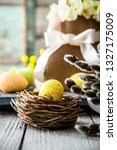 easter eggs on wood. colorful... | Shutterstock . vector #1327175009