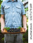 organic fruit. farmers hands... | Shutterstock . vector #1327175189