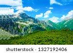 green mountain peaks landscape. ... | Shutterstock . vector #1327192406