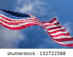 Usa Flag Waving On The Wind On...