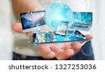 businessman connecting tech... | Shutterstock . vector #1327253036