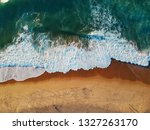 aerial view of sandy beach with ... | Shutterstock . vector #1327263170