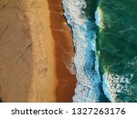 aerial view of sandy beach with ... | Shutterstock . vector #1327263176