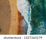 aerial view of sandy beach with ... | Shutterstock . vector #1327263179