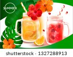 smoothies in a clear cocktail... | Shutterstock .eps vector #1327288913
