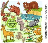 wild animals  hand drawn... | Shutterstock .eps vector #132729584