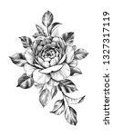 hand drawn rose bunch with... | Shutterstock . vector #1327317119