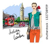 fashion girl in london.vector... | Shutterstock .eps vector #132738959