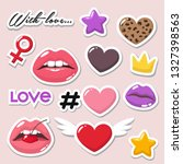 vector set of romantic icon... | Shutterstock .eps vector #1327398563