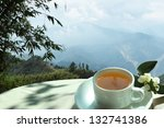 morning tea in the mountains of ... | Shutterstock . vector #132741386
