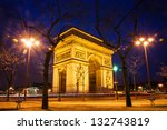 arc de triomphe in paris at... | Shutterstock . vector #132743819