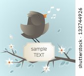 vector illustration of bird on... | Shutterstock .eps vector #132744926