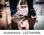 loving couple standing outside... | Shutterstock . vector #1327460486