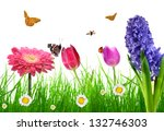 fresh spring grass with flower... | Shutterstock . vector #132746303