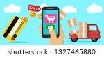 online purchases via mobile... | Shutterstock .eps vector #1327465880