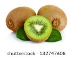 Fresh Kiwi Fruit With Green...