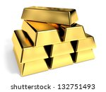 Gold Bars On White Background....