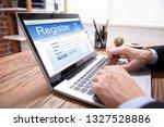 businessman's hand filing... | Shutterstock . vector #1327528886