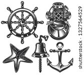 monochrome vector marine set in ... | Shutterstock .eps vector #1327564529