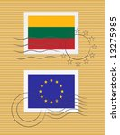 stamps with flag of lithuania... | Shutterstock .eps vector #13275985