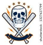 skull with baseball bats.... | Shutterstock . vector #1327627799
