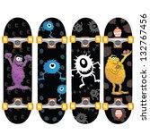 skateboard design set of four...   Shutterstock .eps vector #132767456