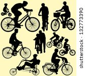 riding bicycle   vector | Shutterstock .eps vector #132773390