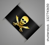 jolly roger. black ribbon... | Shutterstock .eps vector #1327743650