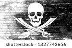 jolly roger. black flag with a... | Shutterstock .eps vector #1327743656