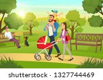 happy young family strolling in ... | Shutterstock .eps vector #1327744469