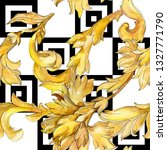 gold monogram floral ornament.... | Shutterstock . vector #1327771790