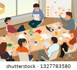 people in a business office... | Shutterstock .eps vector #1327783580