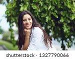 beautiful happy brunette woman... | Shutterstock . vector #1327790066