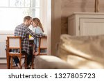 happy young couple embrace and... | Shutterstock . vector #1327805723