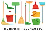 Housework broom and mop. Sweeper brooms, home cleaning mops and cleanup broom with dustpan. Broom, kitchen and bathroom hygiene or housework equipment. Isolated cartoon vector illustration symbols set