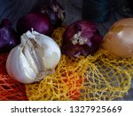 garlic  red onions and a yellow ... | Shutterstock . vector #1327925669