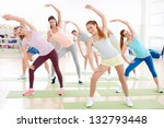 young people do exercises in... | Shutterstock . vector #132793448