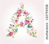 vector flower font capital a | Shutterstock .eps vector #132793538