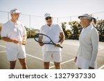 cheerful men in tennis wear...   Shutterstock . vector #1327937330