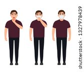 a sick man in a mask  coughing  ... | Shutterstock .eps vector #1327978439