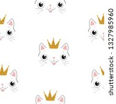 cute seamless pattern with cat. ... | Shutterstock .eps vector #1327985960