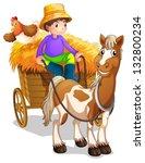 illustration of a farmer riding ...